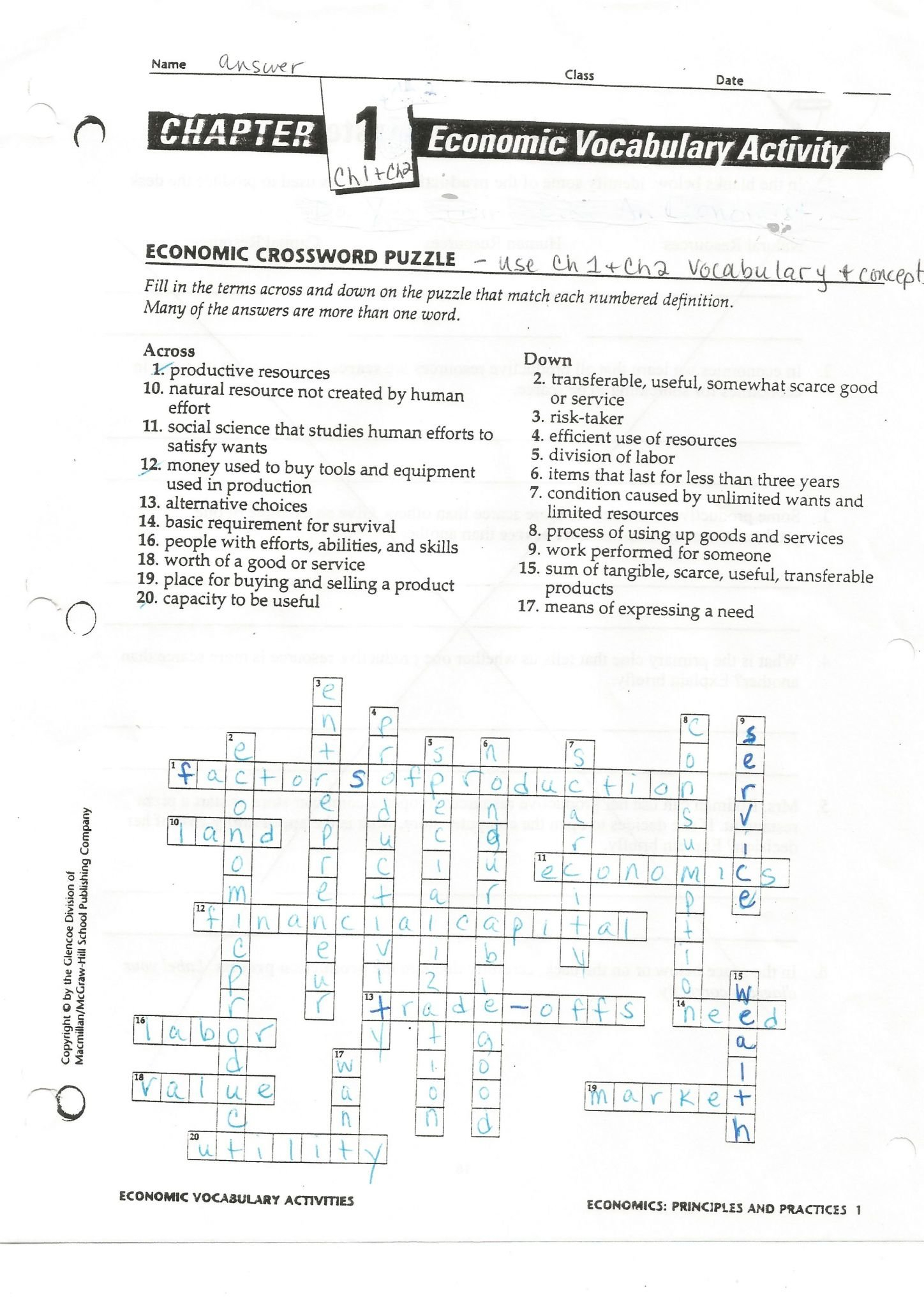 Changes In Supply Worksheet Answers  Briefencounters Throughout Chapter 5 Supply Economics Worksheet Answers