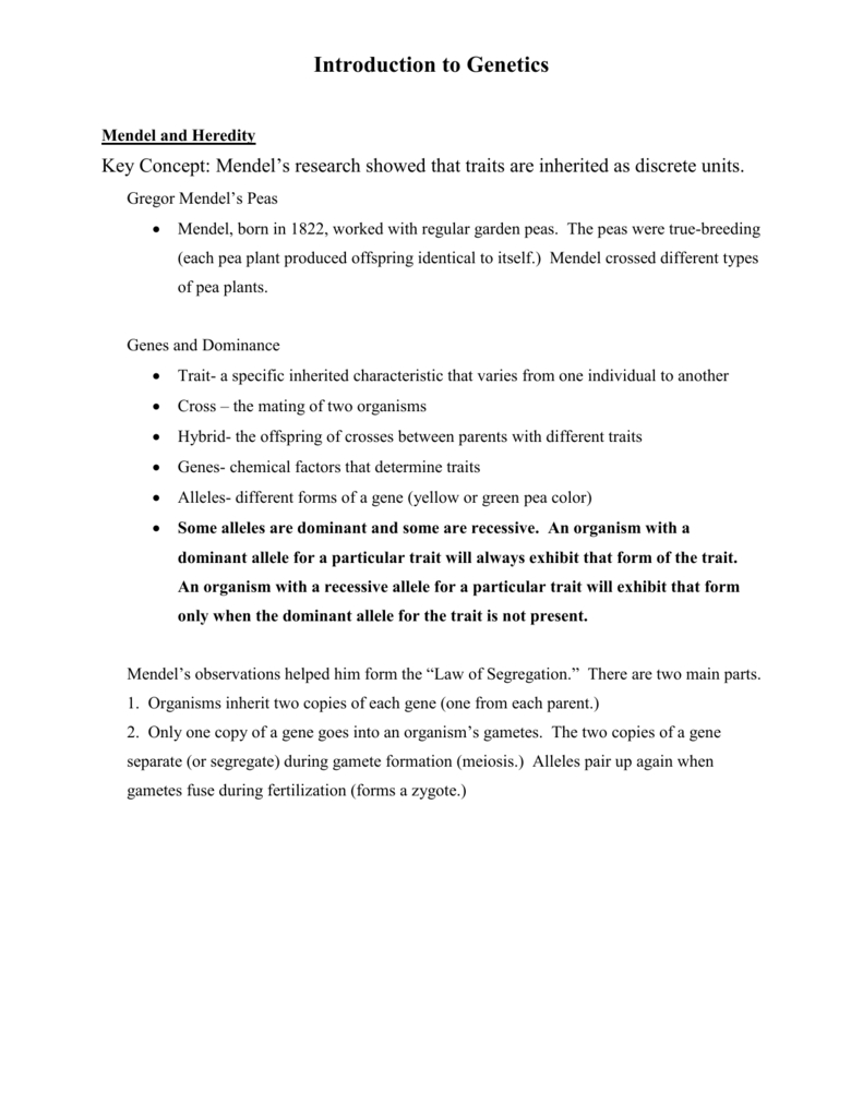 Introduction To Genetics Worksheet  U2013 Excelguider Com