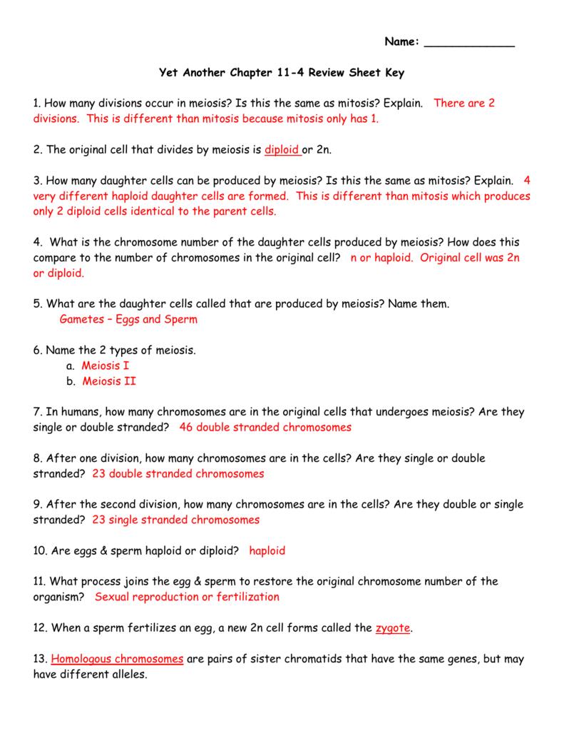 Biology Section 11 4 Meiosis Worksheet Answer Key ...