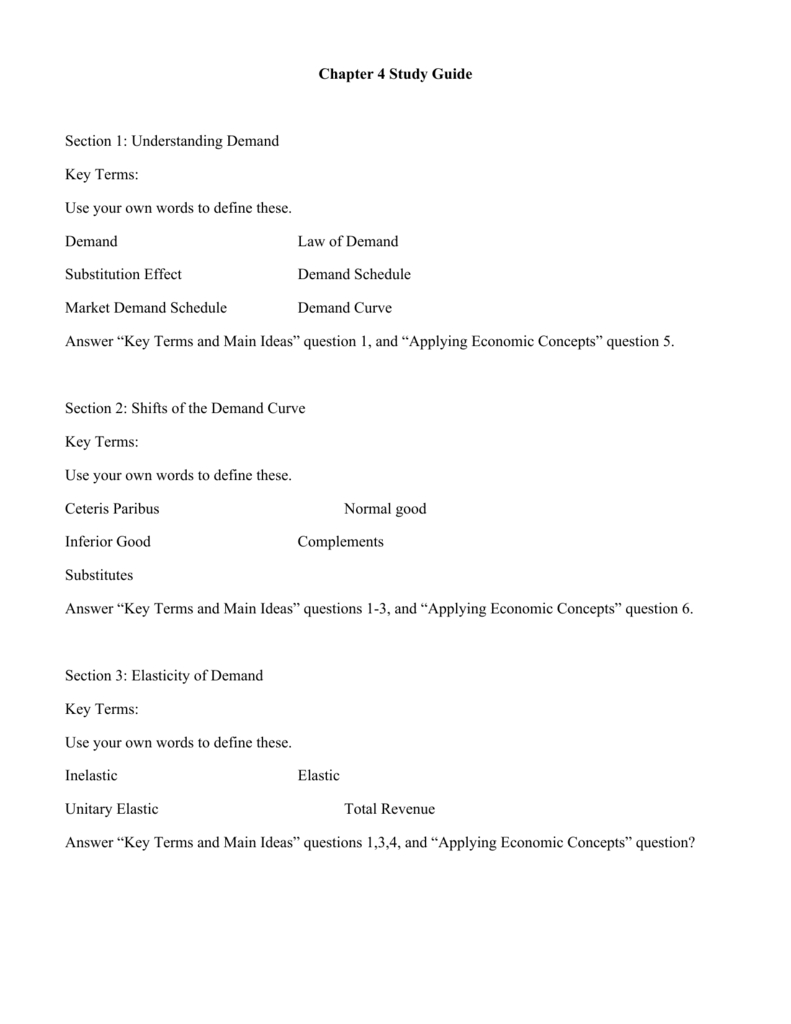 Chapter 4 Study Guide Section 1 Understanding Demand Key For Chapter 4 Section 1 Understanding Demand Worksheet Answers