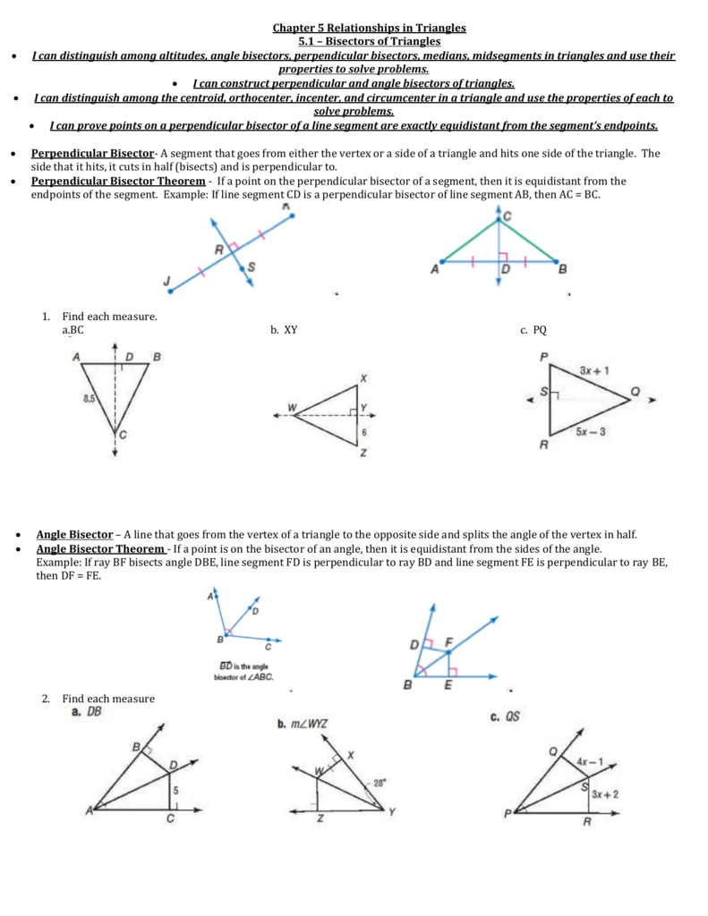 Angle Bisector Worksheet Answer Key — excelguider.com