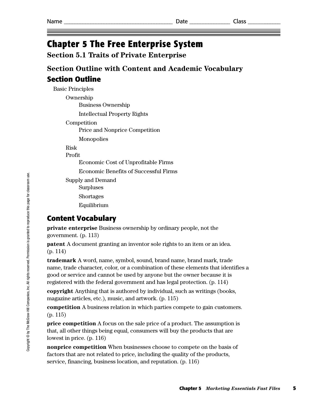 Chapter 5 The Free Enterprise System With Economic Systems Worksheet Answer Key