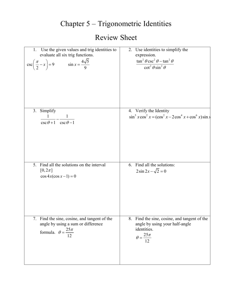 Chapter 5 – Trigonometric Identities Review Sheet Within Trig Identities Worksheet With Answers