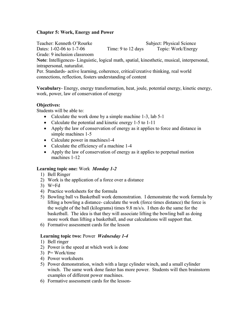 Chapter 5 Work Energy And Power Along With Physical Science Work And Power Worksheet Answers