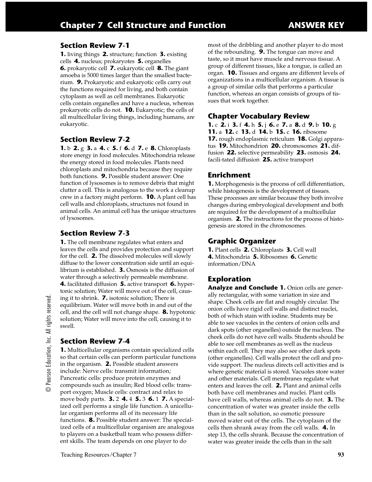 Chapter 7 Cell Structure And Function Answer Key And Lesson 7 2 Cell Structure Worksheet Answers