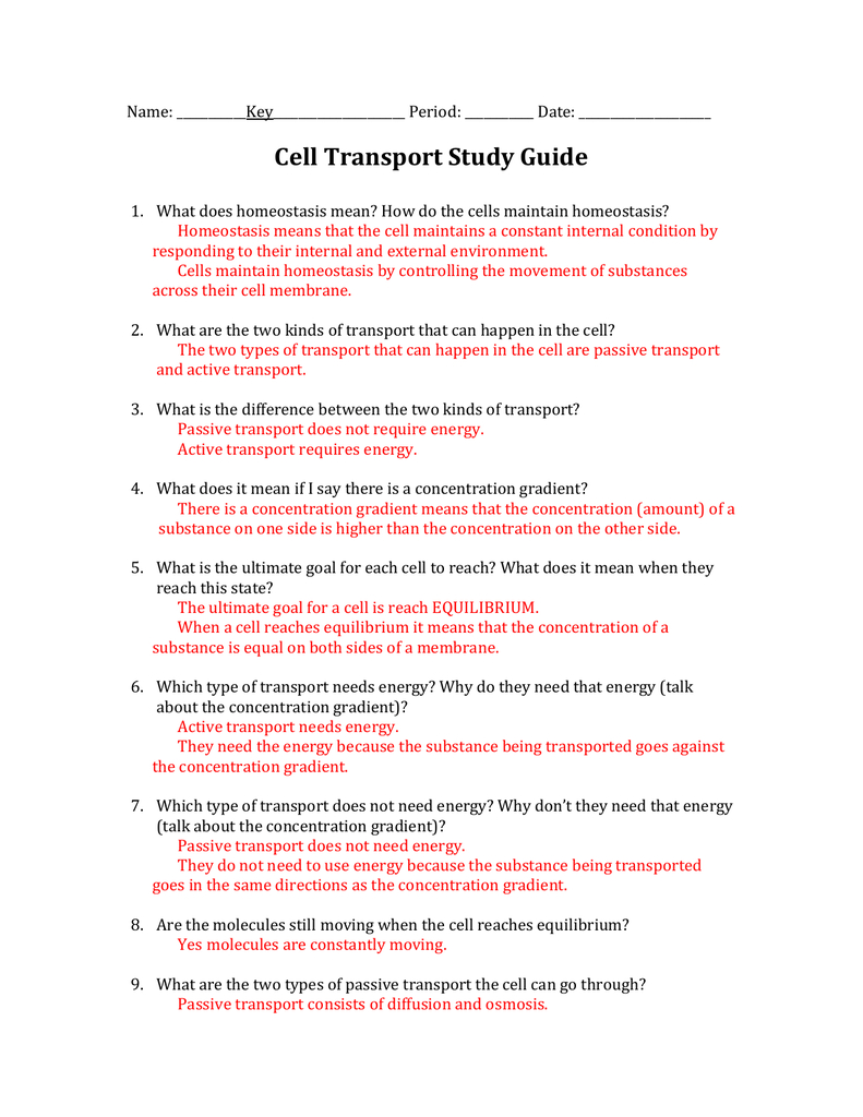 Chapter 7 Section 4 Cellular Transport Answer Key  Newatvs Pertaining To Chapter 7 Section 4 Cellular Transport Worksheet Answers