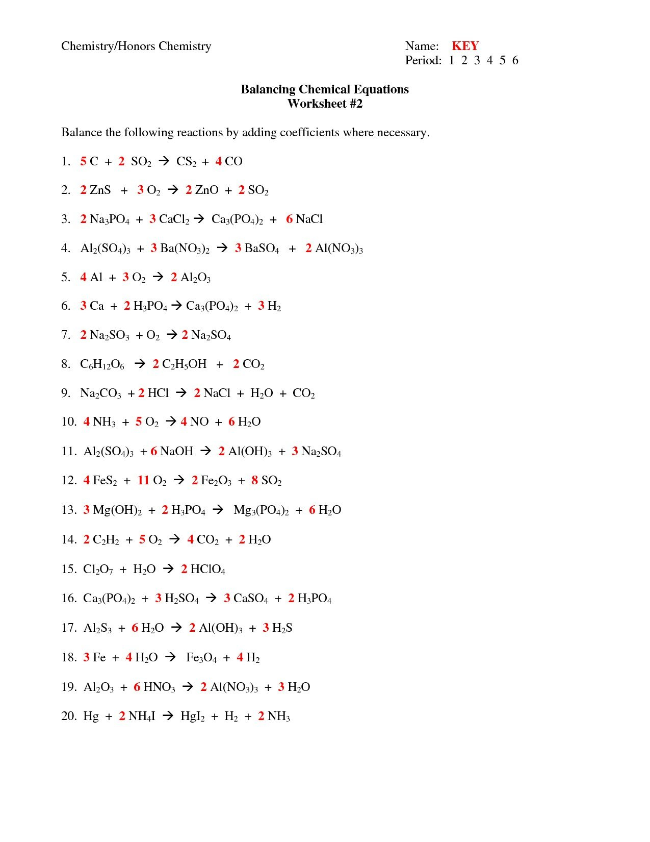 Chapter 7 Worksheet 1 Balancing Chemical Equations Algebra 1 Pertaining To Chemistry Chapter 7 Worksheet Answers