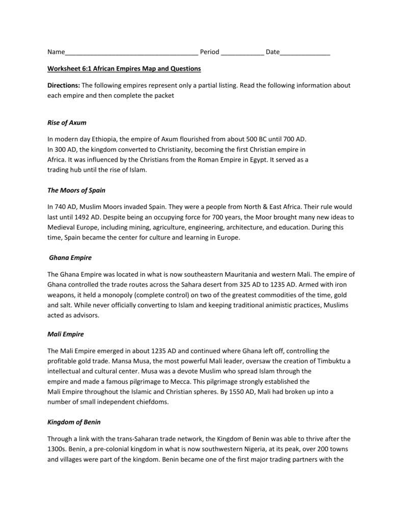 Chapter 8 For Rise Of Islam Worksheet