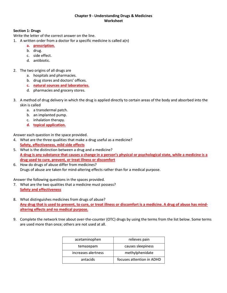 Chapter 9  Understanding Drugs  Medicines Worksheet In Skills Worksheet Reteaching Answers Lifetime Health