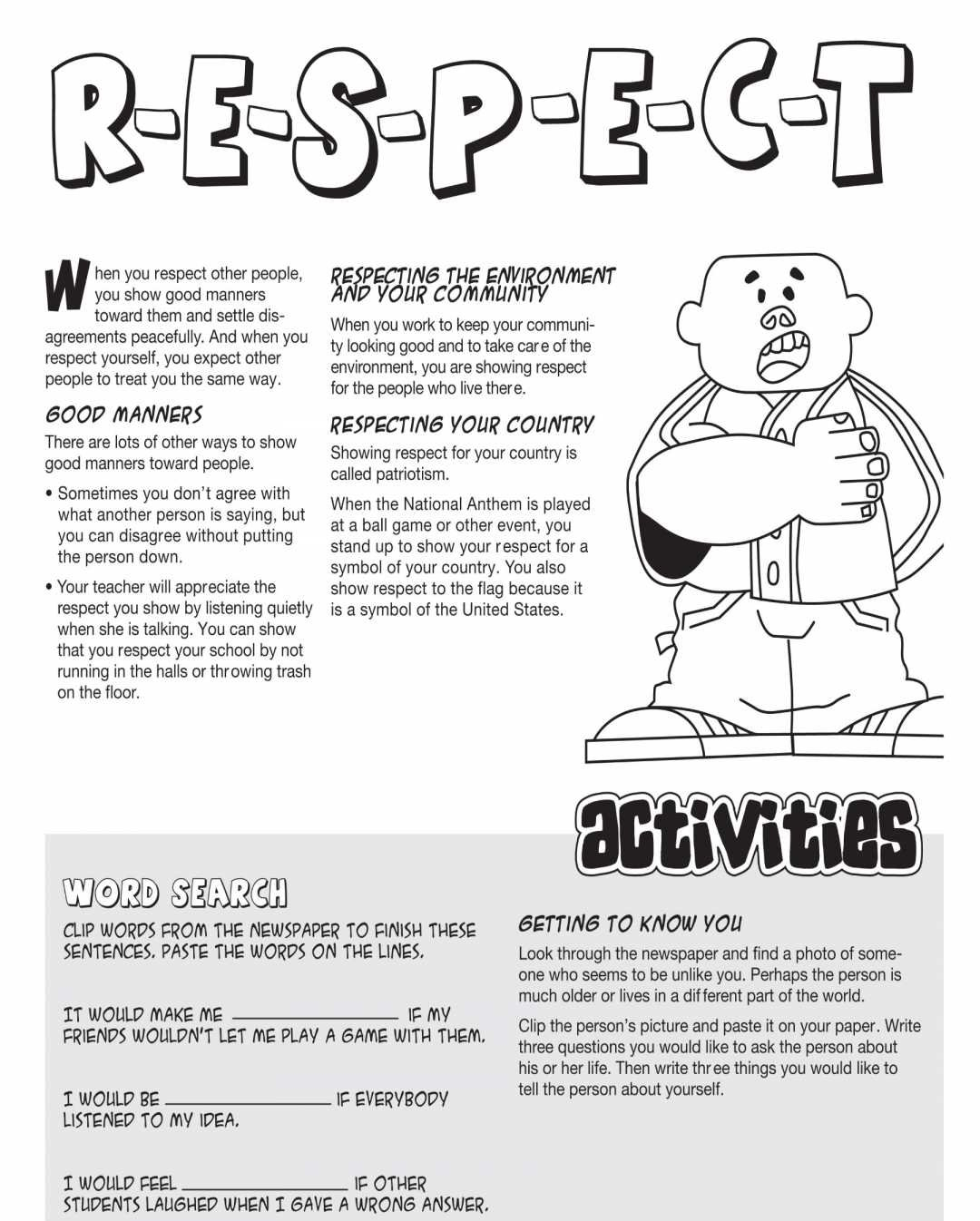 Character Education Worksheets Respect  Printable Worksheet Page Throughout Free Printable Character Education Worksheets Middle School
