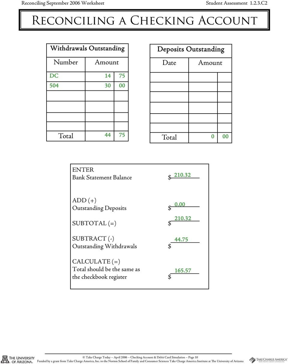 Checking Account And Debit Card Simulation  Pdf Together With Reconciling A Checking Account Worksheet Answers