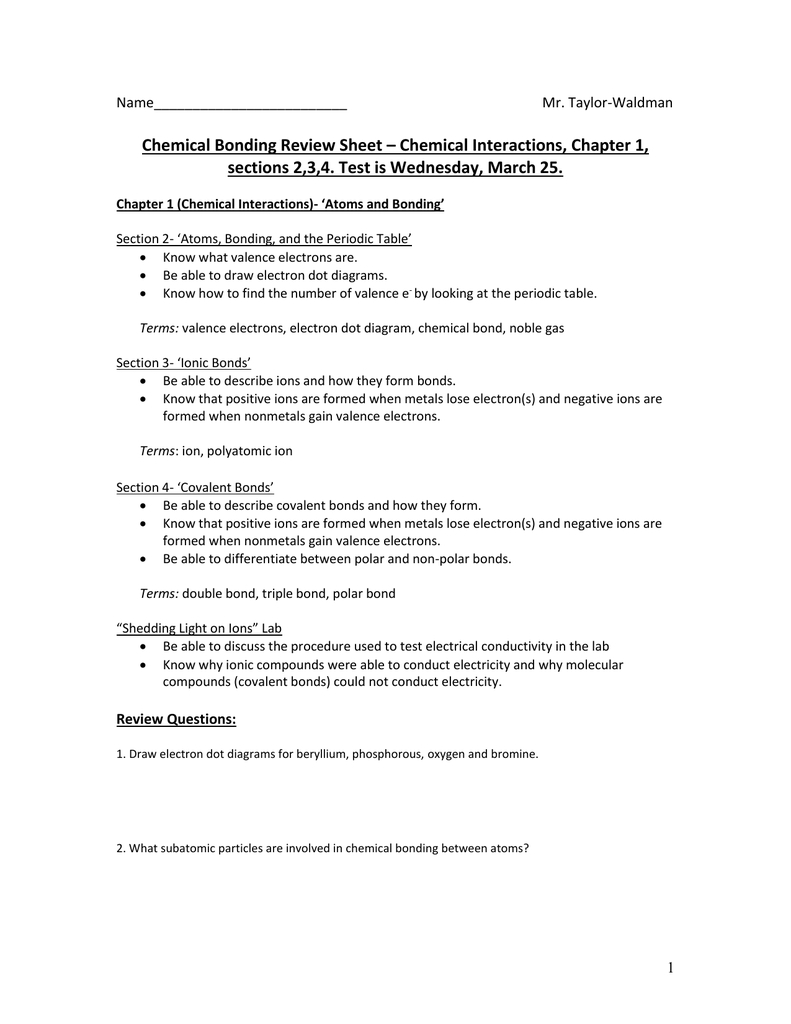 Chemical Bonding Review Sheet – Chemical Interactions Chapter 1 Regarding Chemical Bonding Review Worksheet Answers