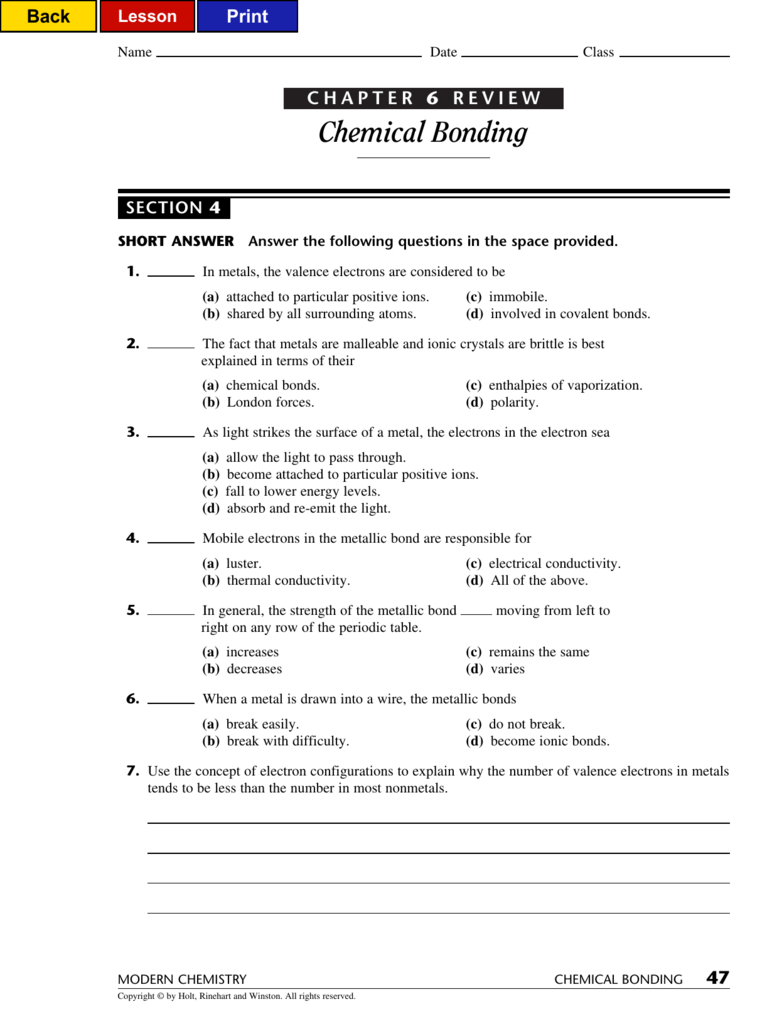 Chemical Bonding Throughout Chemical Bonding Review Worksheet Answers
