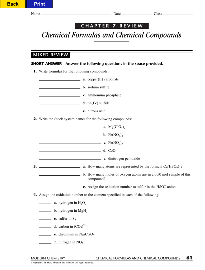 Chemical Formulas And Chemical Compounds As Well As Chemistry Chapter 7 Worksheet Answers