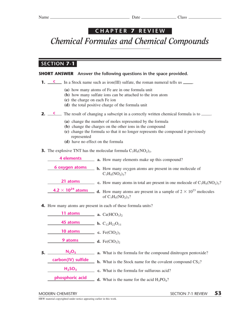 Chemical Formulas And Chemical Compounds Together With Chemistry Chapter 7 Worksheet Answers