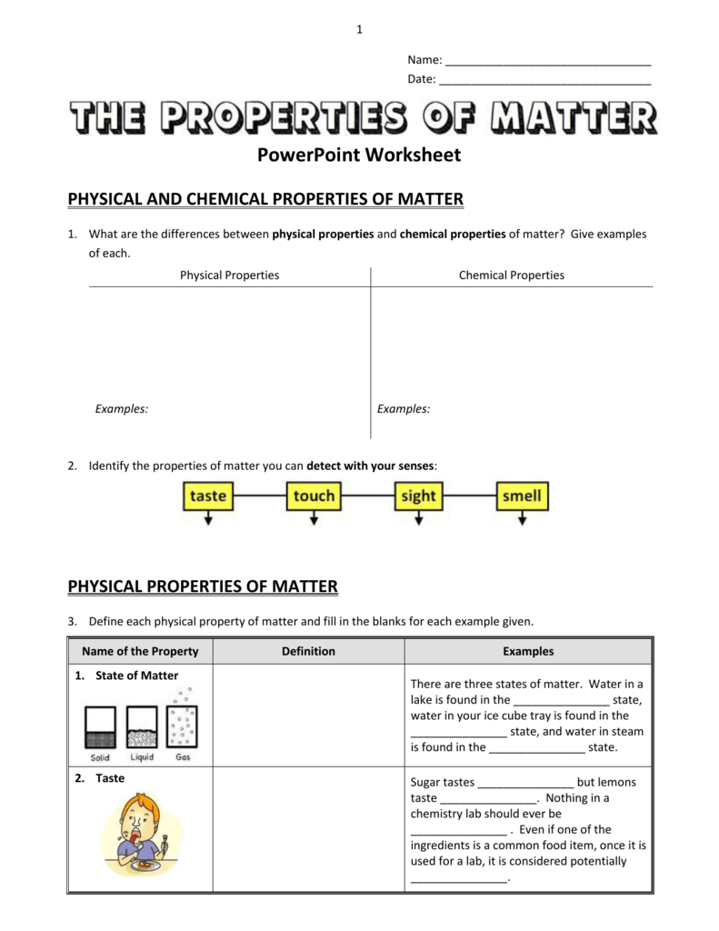 Chemical Properties Of Matter And Properties Of Matter Worksheet Answers