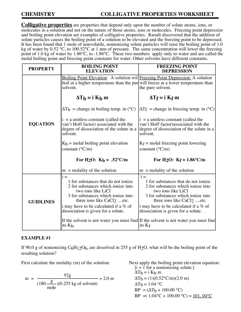 Chemistry Colligative Properties Worksheet With Regard To Section 16 3 Colligative Properties Of Solutions Worksheet Answers