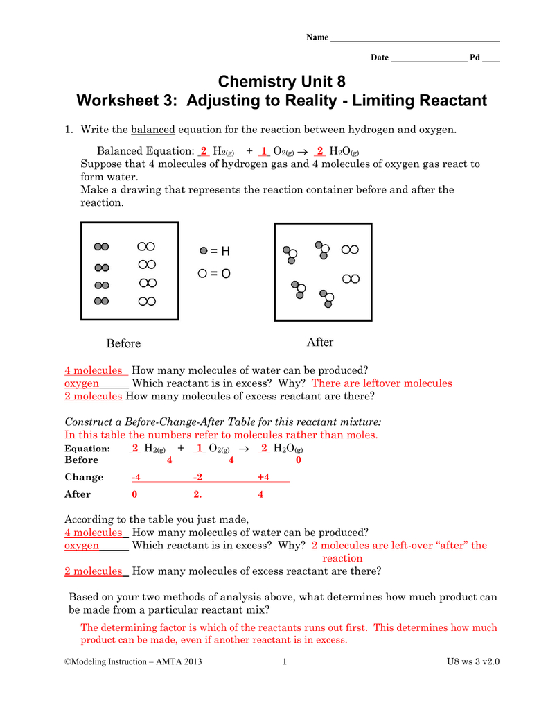 Chemistry Unit 8 Worksheet 3 Adjusting To Reality  Limiting Reactant For Limiting And Excess Reactants Worksheet