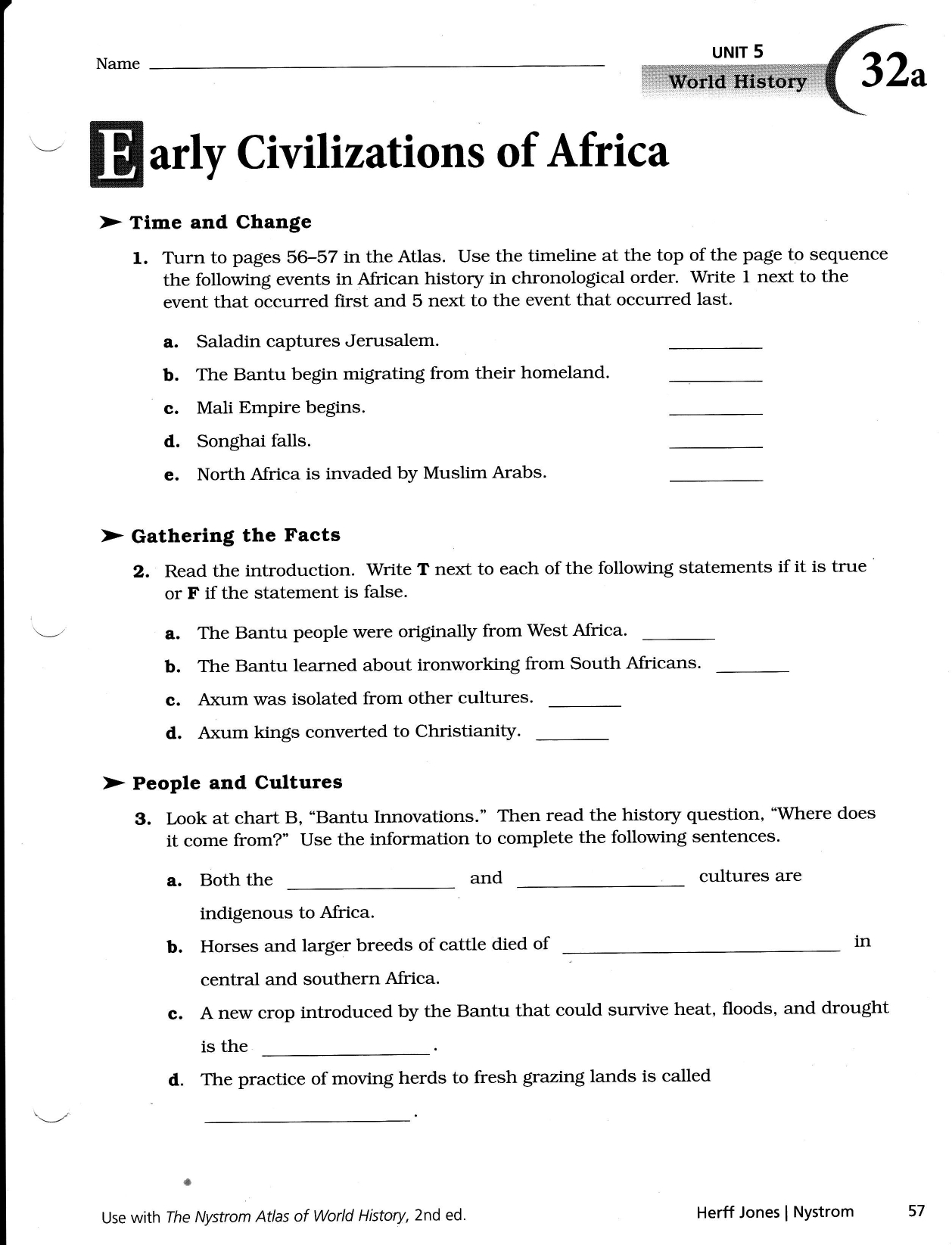 Civilizations Of Africa With Early African Civilizations Worksheet Answers
