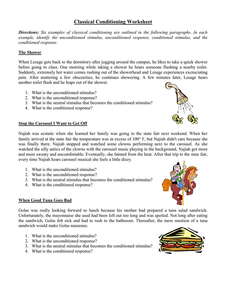 Classical Conditioning Worksheet And Classical Conditioning Worksheet