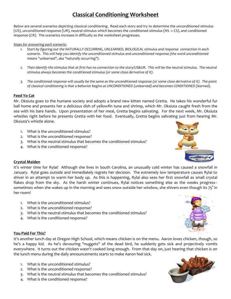 Classical Conditioning Worksheet In Classical Conditioning Worksheet