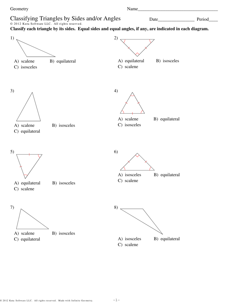 Classifying Trianglessides Andor Angles Within Classifying Triangles Worksheet With Answer Key