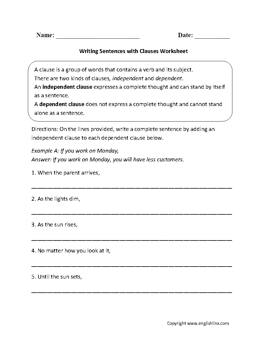Clauses Worksheets  Writing Sentences With Clauses Worksheet Pertaining To Phrases And Clauses Worksheets