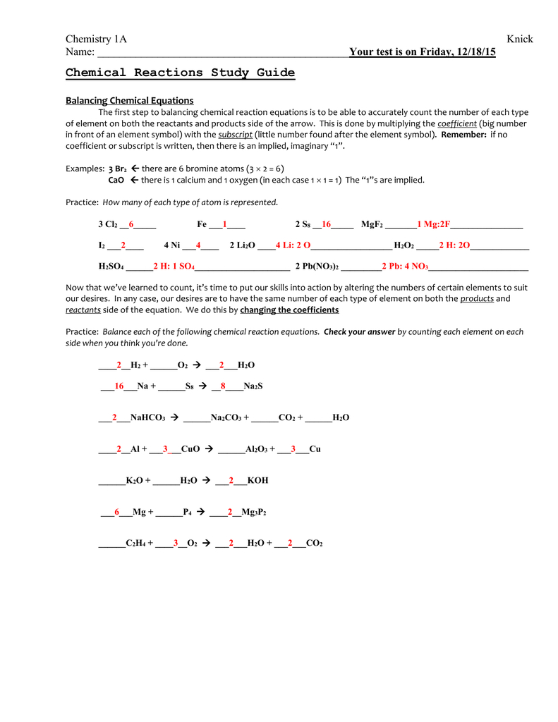 Click Here For Unit 4 Answer Key Along With 2 4 Chemical Reactions Worksheet Answers