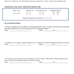 Combined Gas Law Practice Pertaining To Combined Gas Law Problems Worksheet Answers