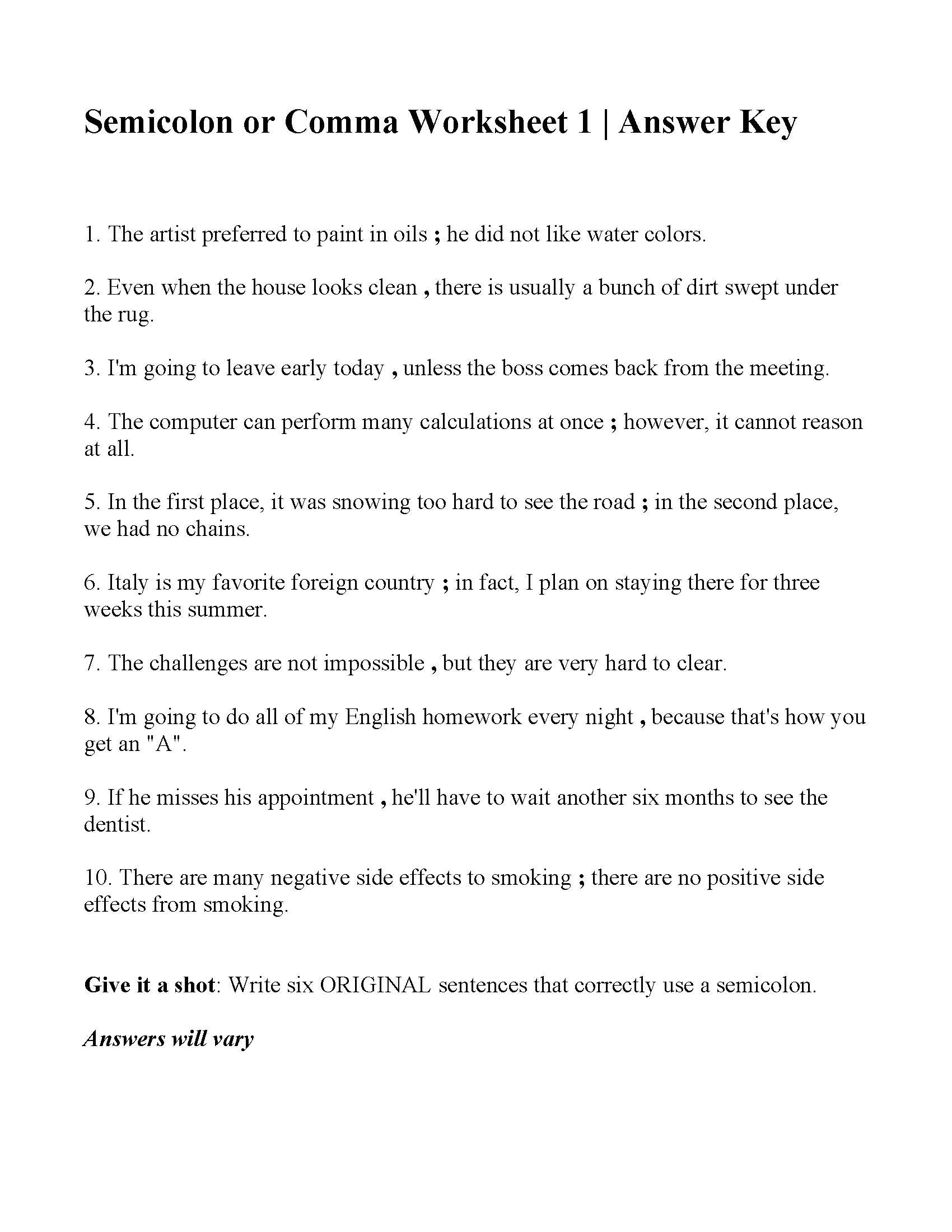 Commas Or Semicolons Worksheet 1  Answers Also Commas Semicolons And Colons Worksheet