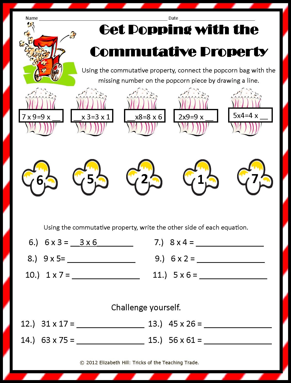 Commutative Property Multiplication Worksheets  Cmediadrivers Inside Commutative Property Of Multiplication Worksheets Pdf