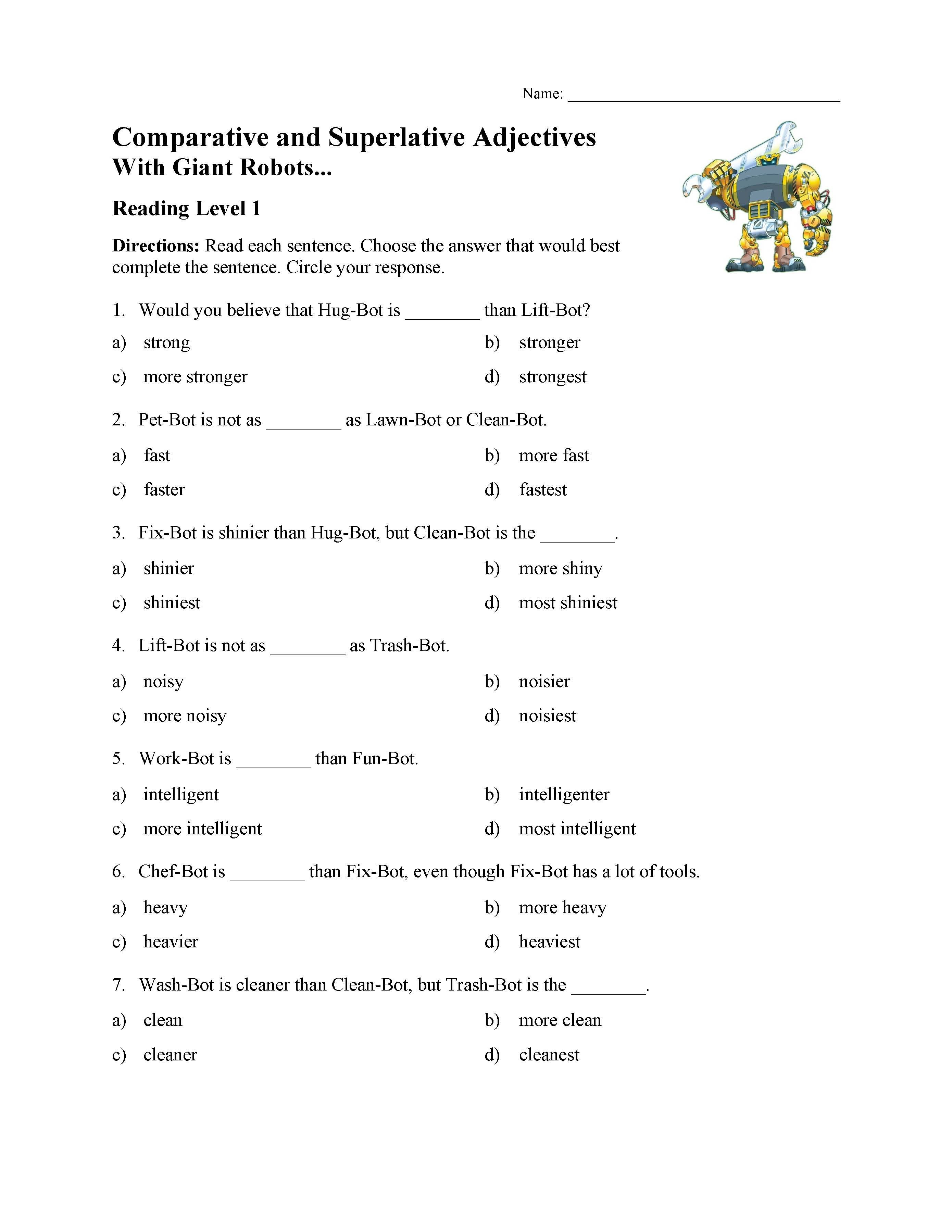Comparative And Superlative Adjectives Test With Giant Robots Pertaining To Comparative And Superlative Adjectives Worksheet