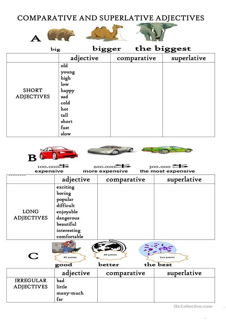 Comparative And Superlative Adjectives Worksheet  Free Esl With Comparative And Superlative Adjectives Worksheet