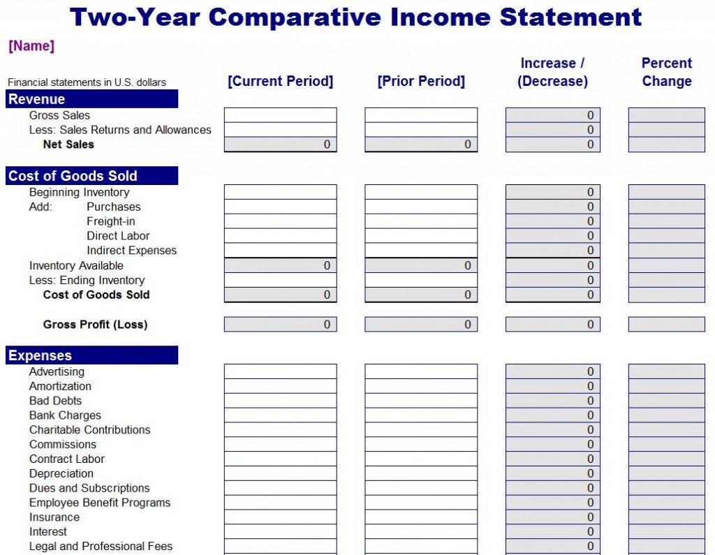 Comparative Income Statement   Comparative Income Statement Template For Income And Expense Statement Template