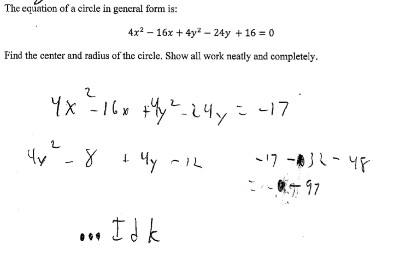 Complete The Square For Centerradius 2 Students Are Asked To Find Throughout Circles Worksheet Find The Center And Radius Of Each