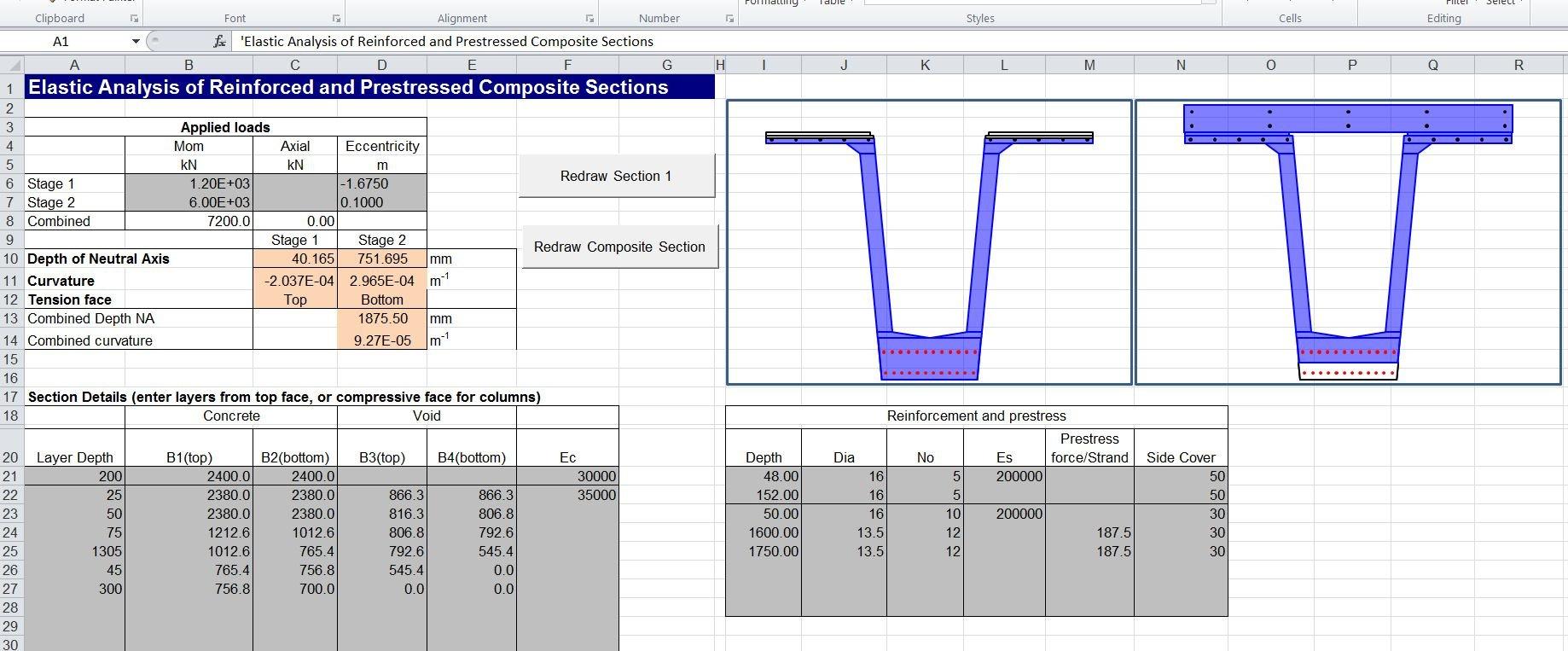 Composite Beam Spreadsheet 3 | Newton Excel Bach, Not (Just) An ... Regarding Composite Beam Design Spreadsheet