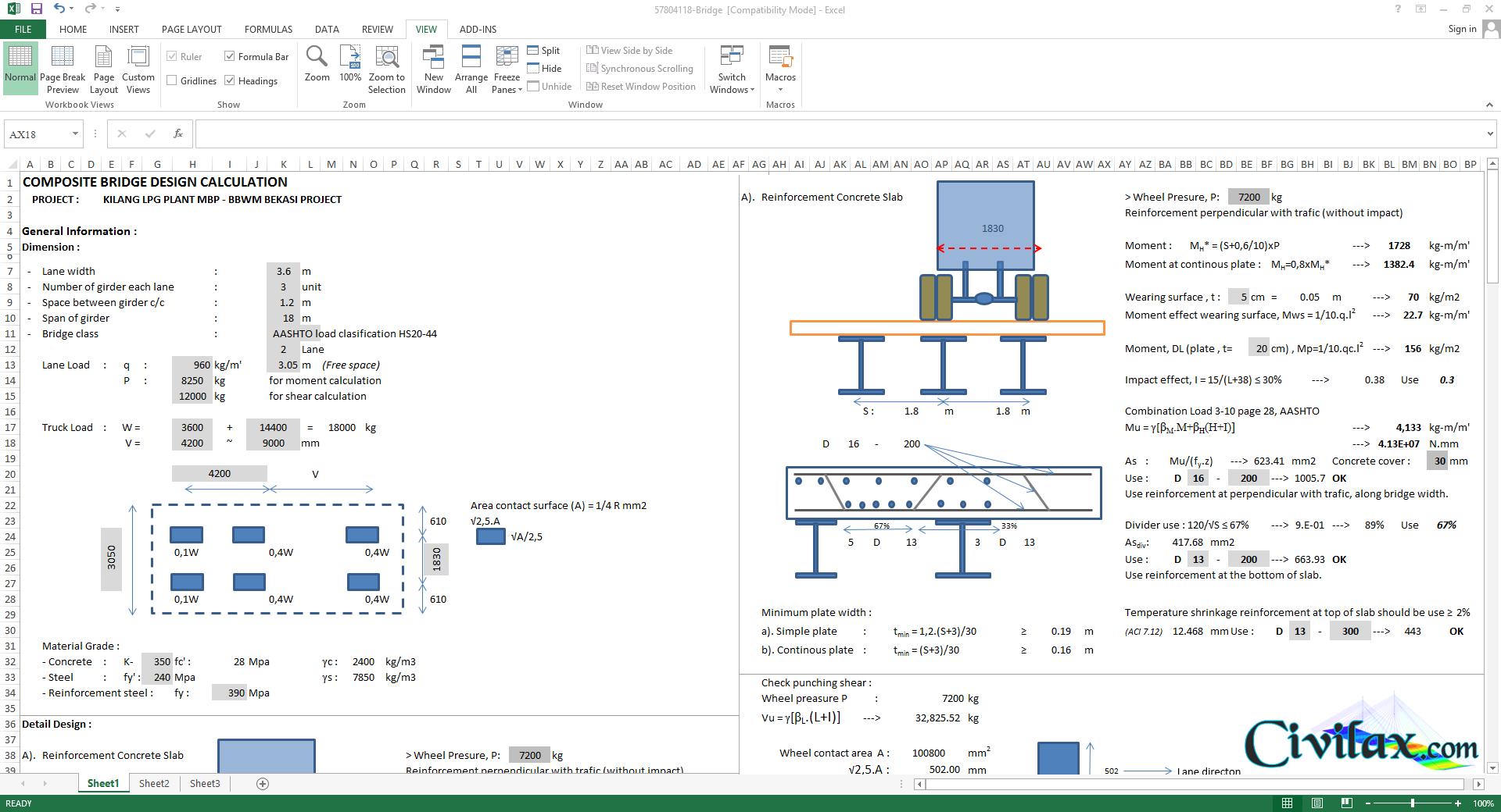Composite Bridge Design Spreadsheet Along With Composite Beam Design Spreadsheet
