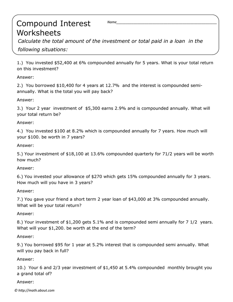 Compound Interest Worksheets Following Situations In Calculating Your Paycheck Salary Worksheet 1 Answers