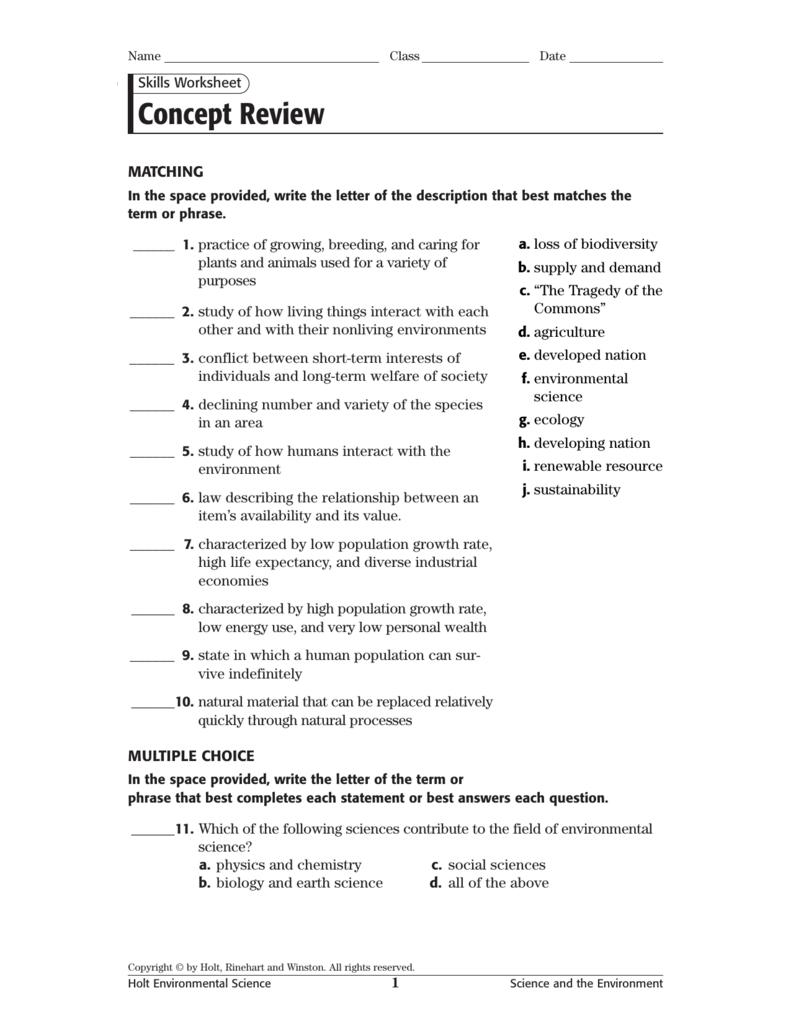 Concept Review Regarding Skills Worksheet Holt Environmental Science