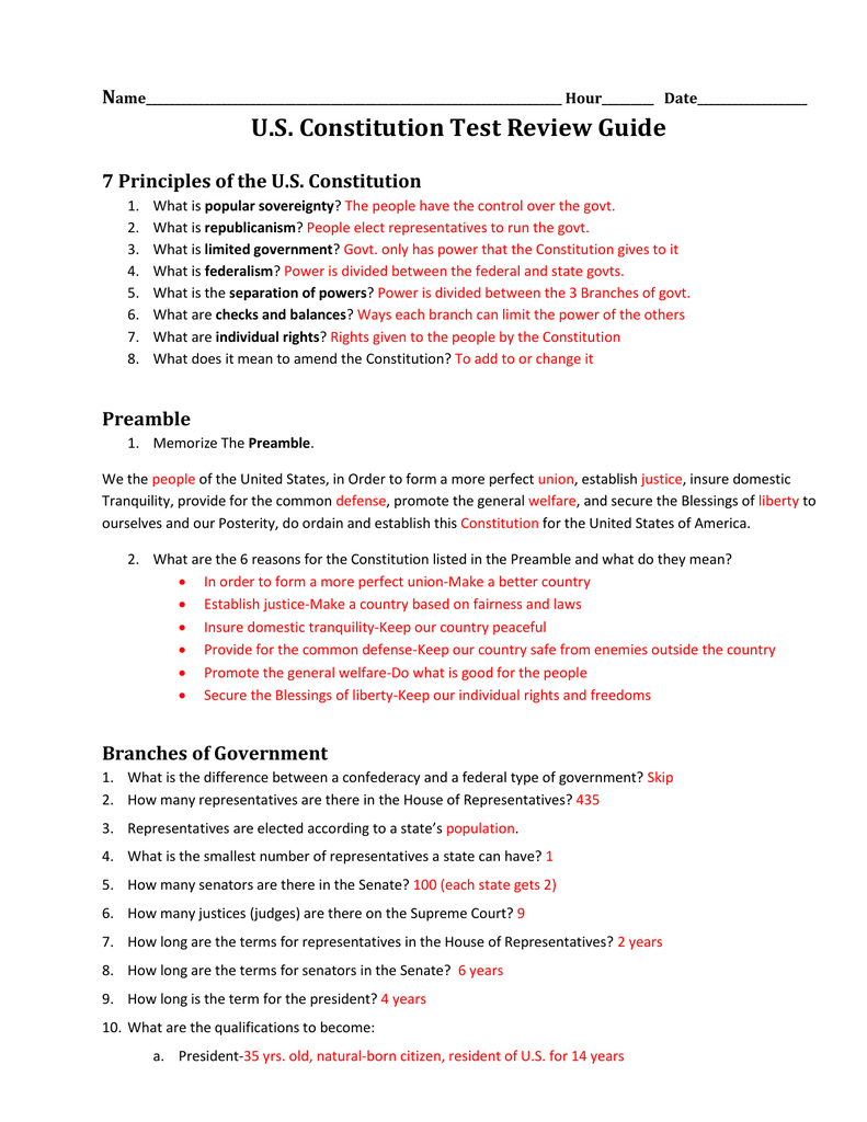 Constitution Test Review Guide Answer Key Throughout Constitution Worksheet Pdf