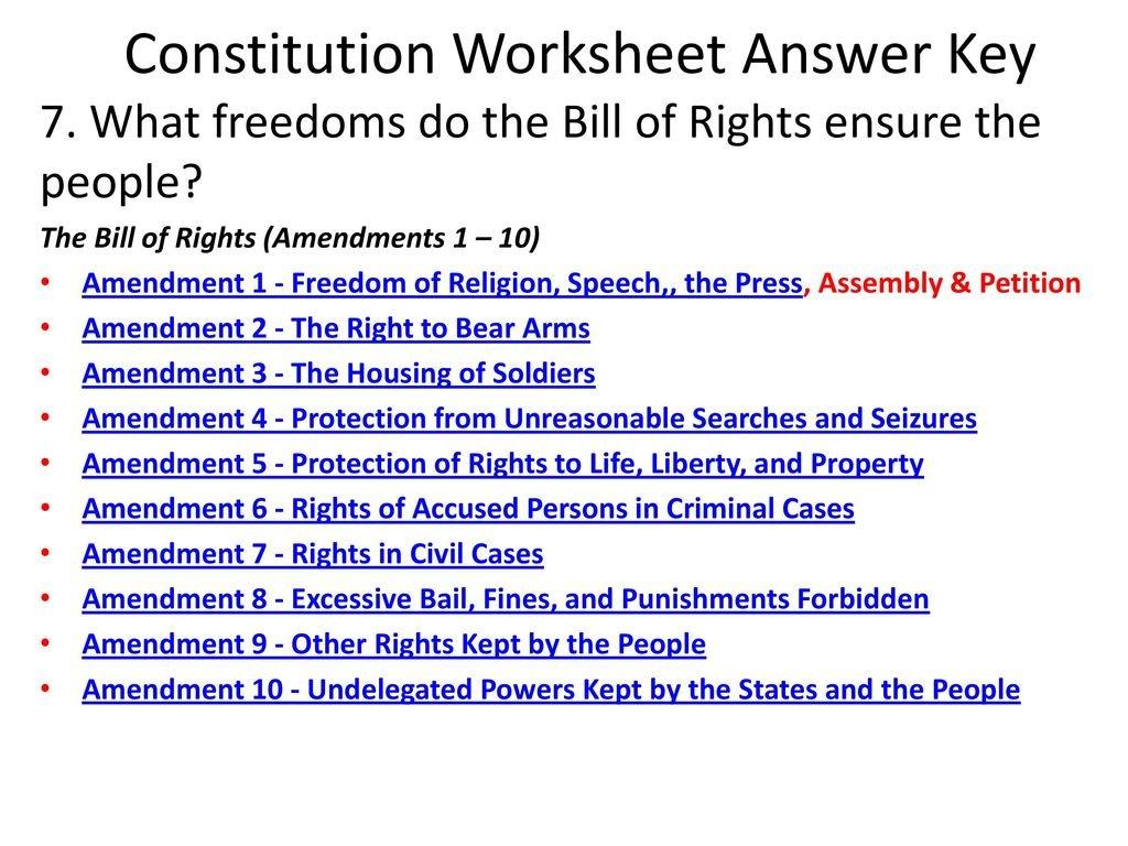 Constitution Worksheet Answer Key  Ppt Download With Bill Of Rights Worksheet Answer Key