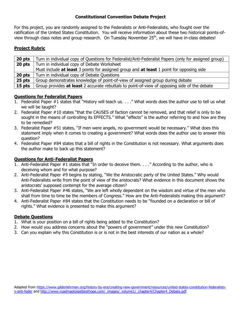 Constitutional Convention Debate Project For This Project You Are With Regard To The Federalist Debate Worksheet Answers