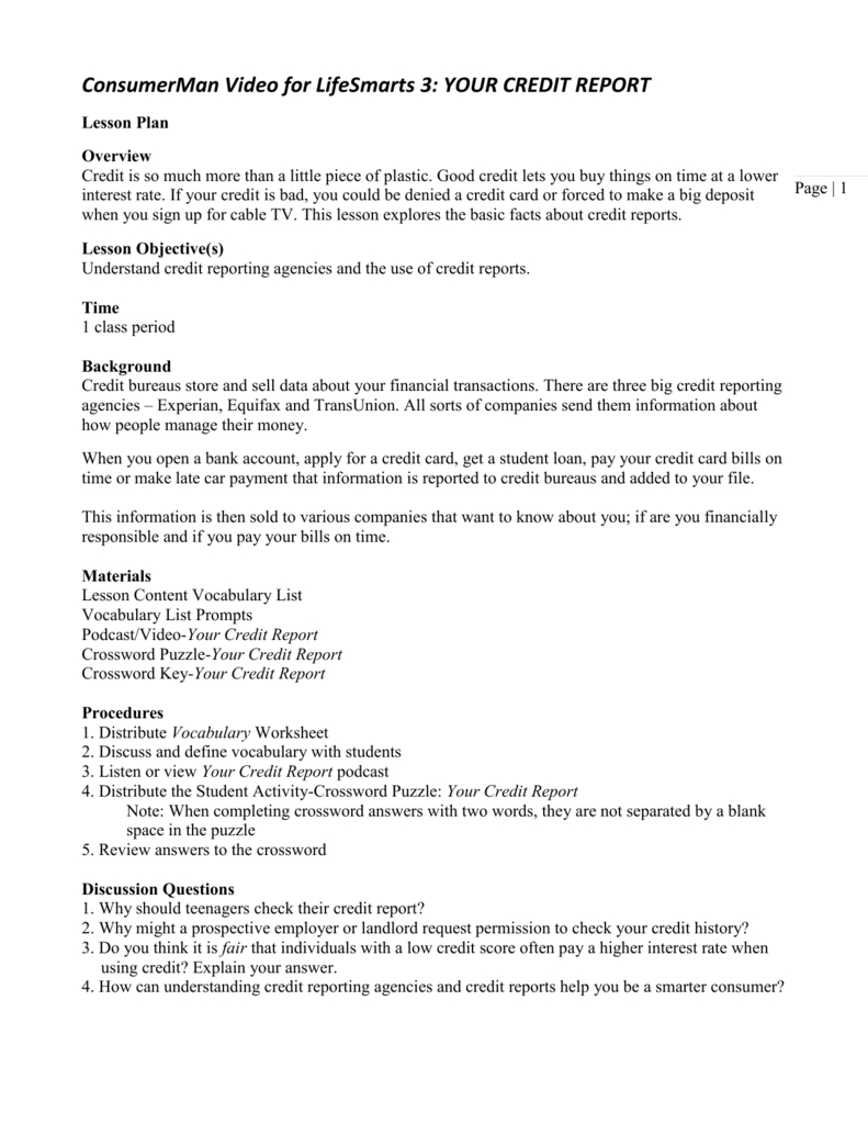 Consumerman Video For Lifesmarts 3 Your Credit Report Intended For Shopping For Credit Worksheet Answer Key