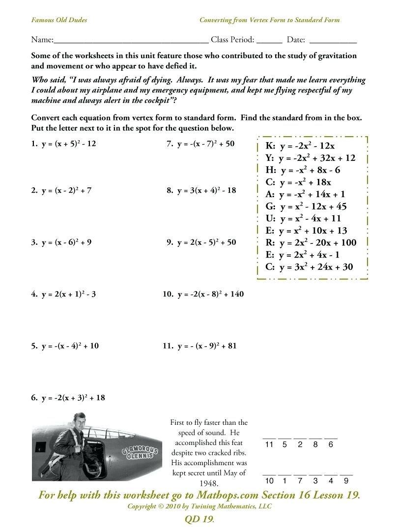 Convert From Standard To Vertex Form Math Vertex To Standard Mathway Inside Converting Quadratic Equations Worksheet Standard To Vertex