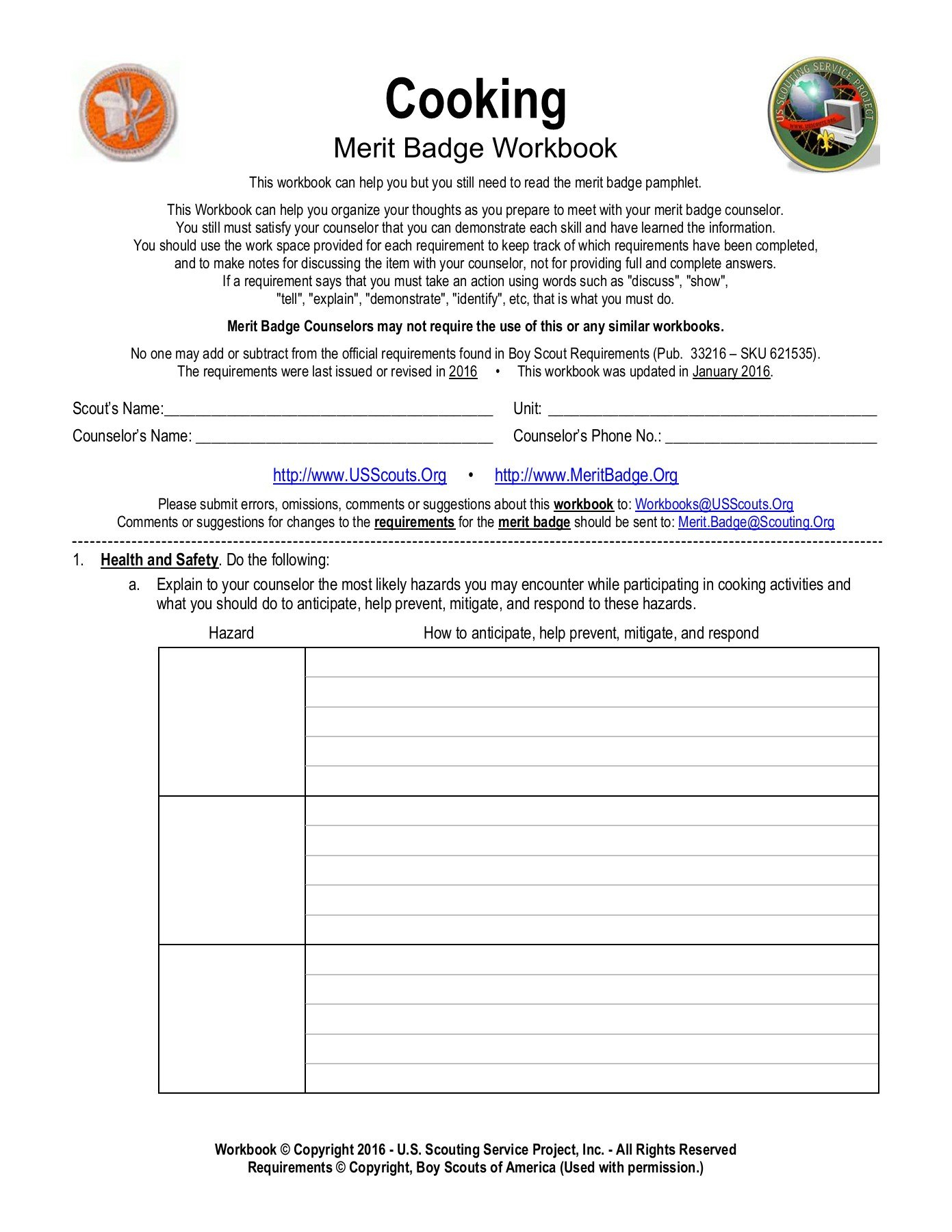 Cooking  Meritbadge Pages 1  34  Text Version  Anyflip And Boy Scout Cooking Merit Badge Worksheet