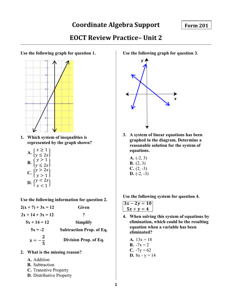 Coordinate Algebra Support Eoct Review Practice– Unit 2 Form 201 Throughout Solving Systems Of Inequalities By Graphing Worksheet Answers 3 3