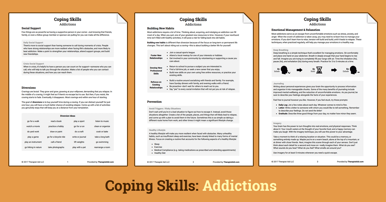 Coping Skills Addictions Worksheet  Therapist Aid Along With Coping Skills For Substance Abuse Worksheets