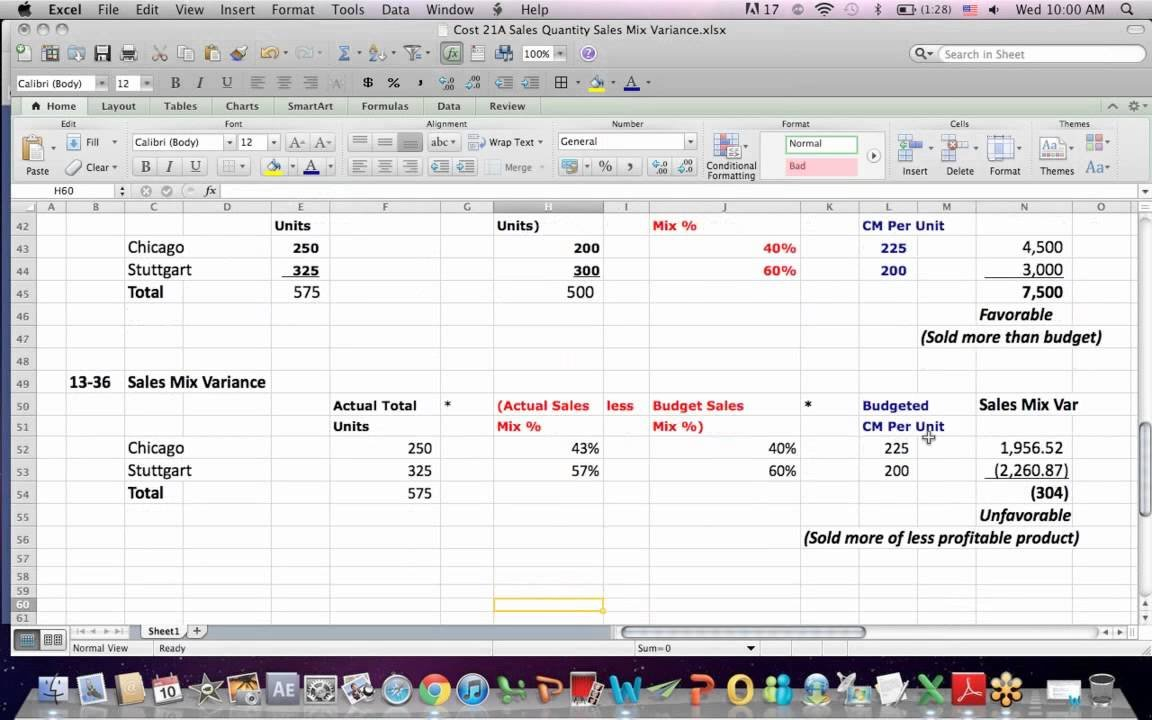 Cost Accounting 21A Sales Mix Variance, Sales Quantity Variance ... Intended For Price Volume Mix Analysis Excel Spreadsheet