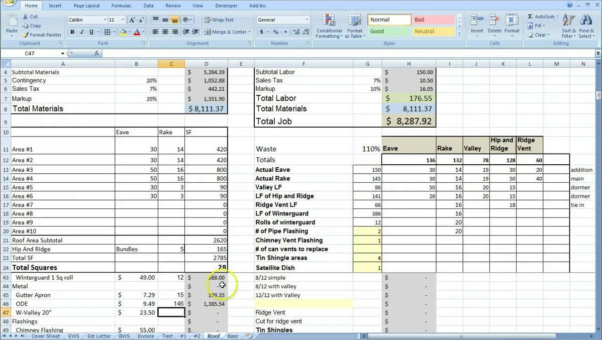 Cost Estimating Sheet With Excel For The General Contractor Intended For Quantity Surveyor Excel Spreadsheets