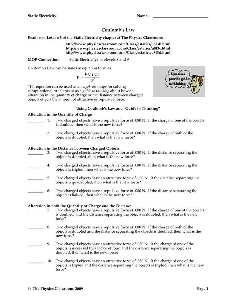 Coulomb's Law With Physics Classroom Static Electricity Worksheet Answers